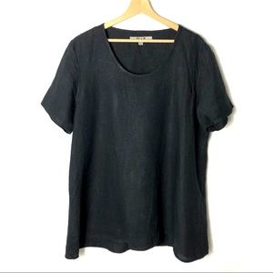 FLAX Lagonlook Top 100% Linen Tunic  Black L